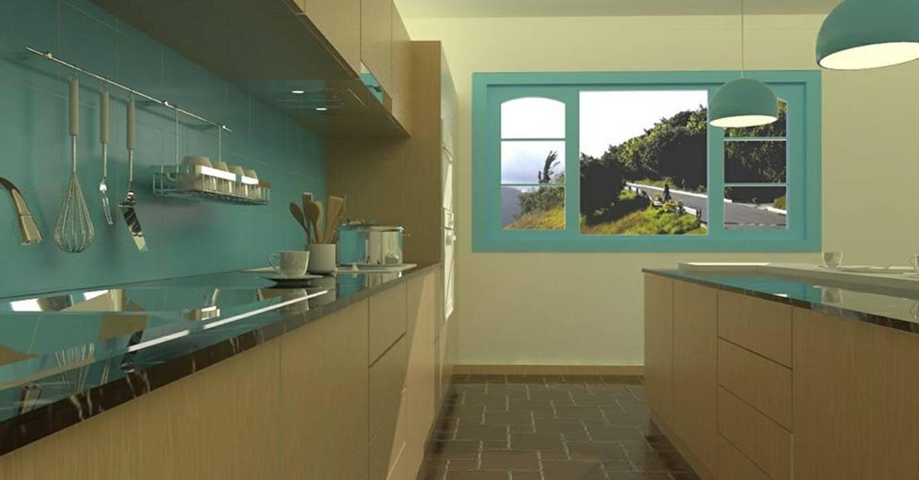 kitchenette: Muebles de cocinas de estilo  por Arq Darwin Machiste, Moderno Madera Acabado en madera