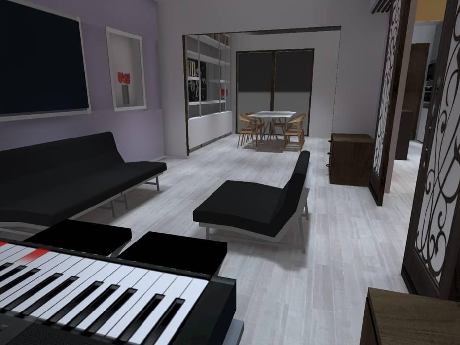 vista living Livings de estilo minimalista de ATELIER3 Minimalista Derivados de madera Transparente