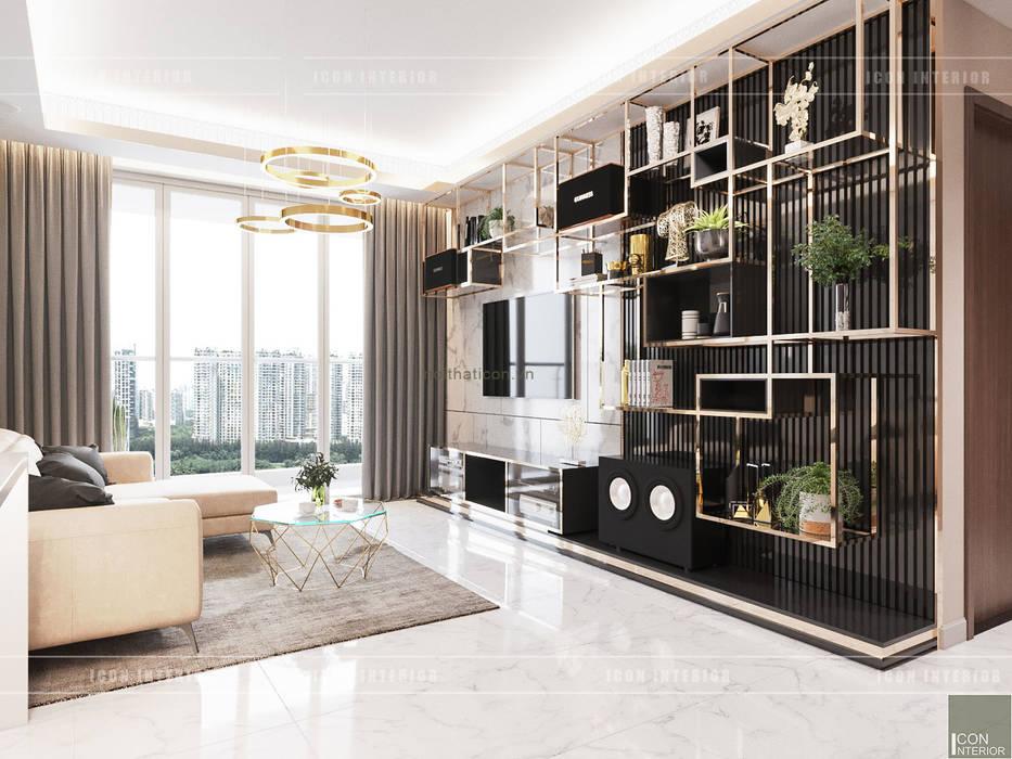 THIẾT KẾ CĂN HỘ VỚI NỘI THẤT PHONG CÁCH CHÂU ÂU - Sarica Condominium Sala:  Phòng khách by ICON INTERIOR,