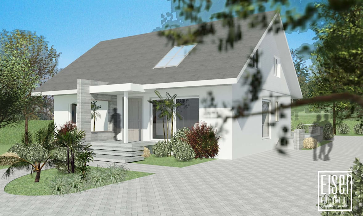 Fachada Frontal.: Casas de madera de estilo  por Eisen Arquitecto