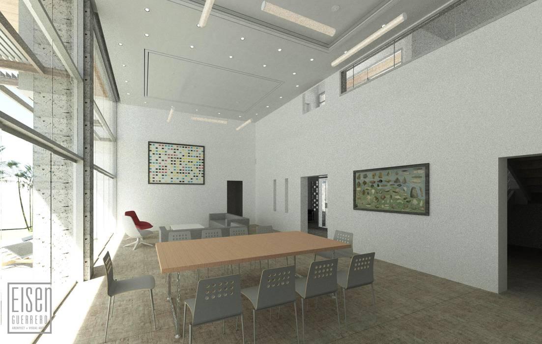 Comedor y Sala: Casas unifamiliares de estilo  por Eisen Arquitecto, Tropical Concreto