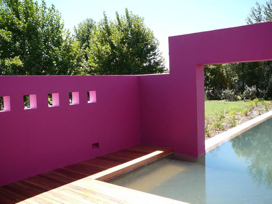 PATIO DE ACCESO A PILETA, SECTOR CANAL DE NADO: Piletas de jardín de estilo  por Estudio Dillon Terzaghi Arquitectura