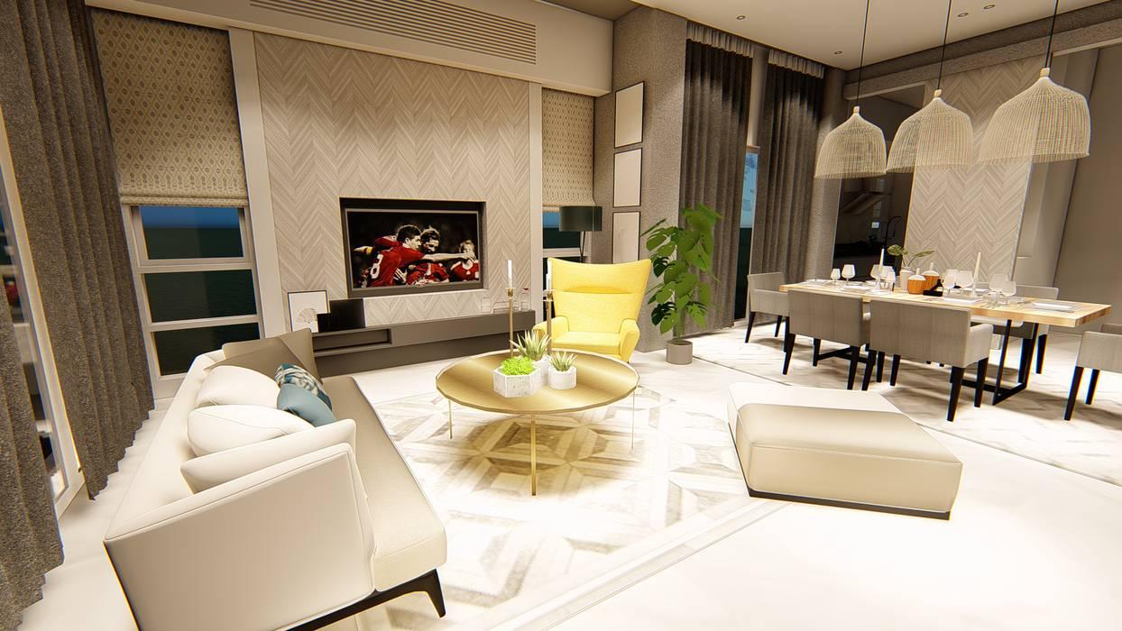 Salas / recibidores de estilo  por LI A'ALAF ARCHITECT