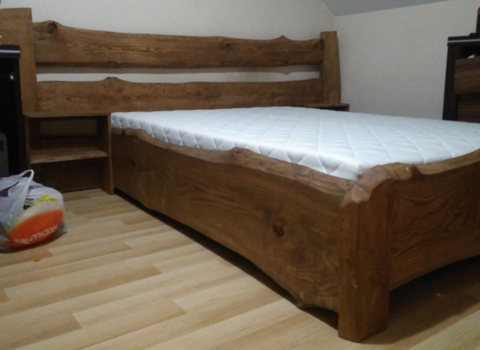 łóżko Dębowe Naturalne Styl W Kategorii Zaprojektowany