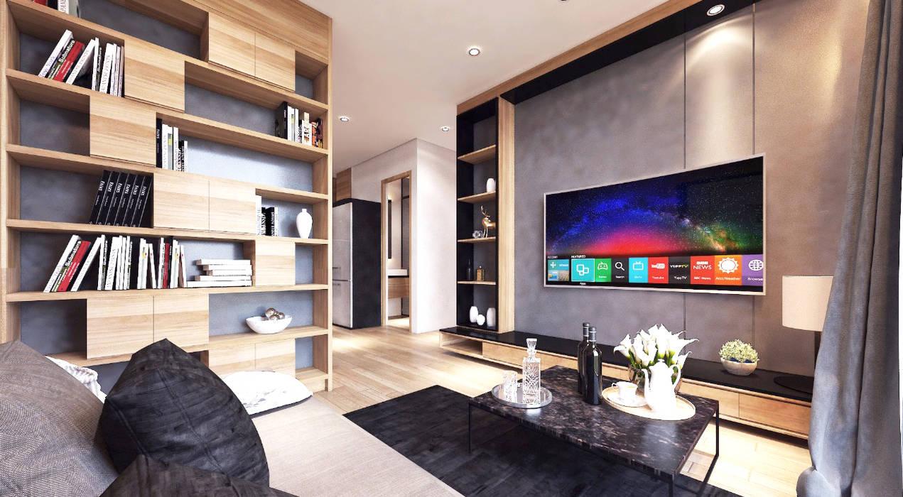 Ruang Tamu / Keluarga Konsep Ruang Terbuka:  Ruang Keluarga by Jati and Teak