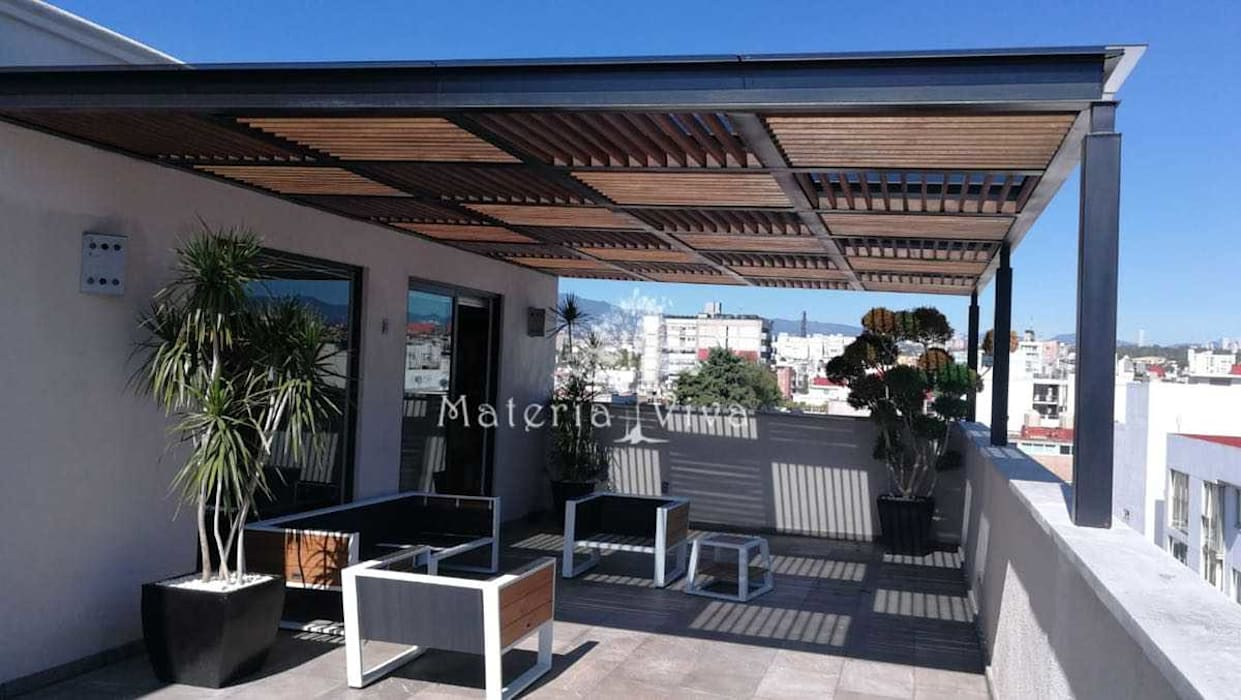 P rgola de acero madera y vidrio en terraza de penthouse for Muro de separacion terraza