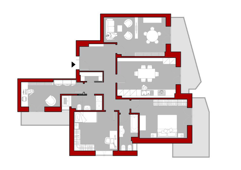 pianta appartamento: Scale in stile  di Arch. Marzia Filatrella