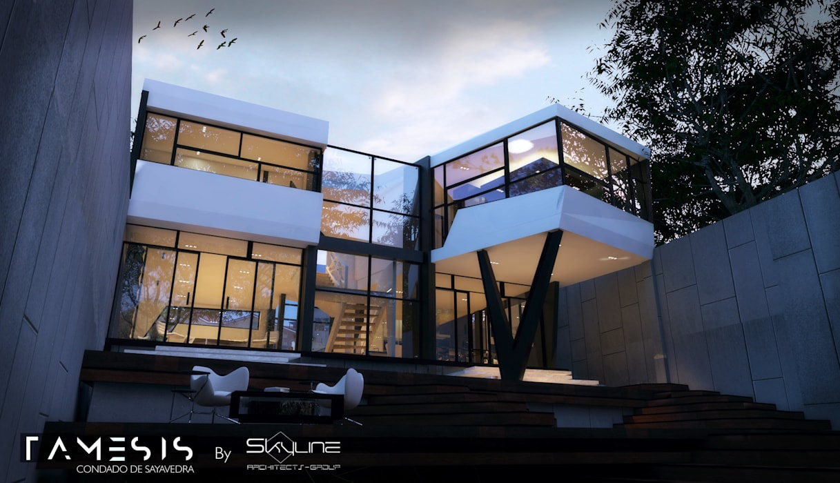 Houses by SKYLINE ARCHITECTS GROUP, Modern Reinforced concrete