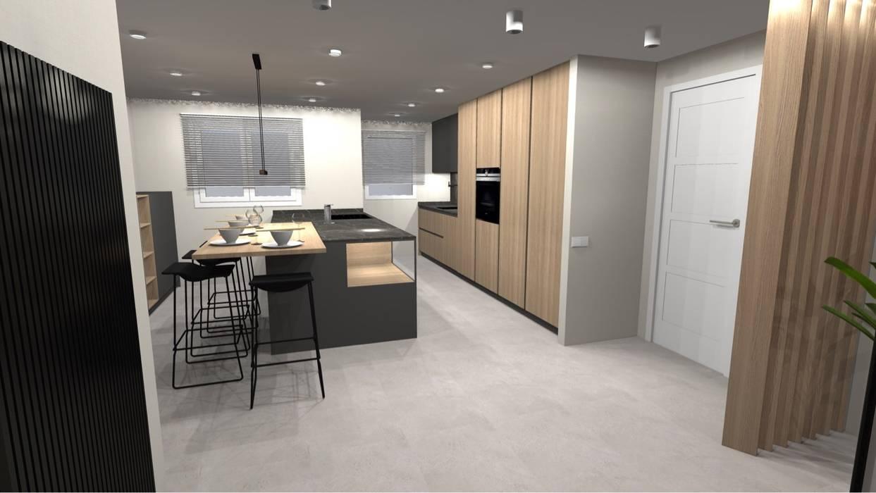 REFORMA INTEGRAL Cocinas de estilo minimalista de Cid interiores Minimalista Madera Acabado en madera
