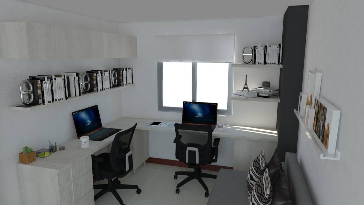 estudio Estudios y despachos de estilo minimalista de Naromi Design Minimalista Madera Acabado en madera