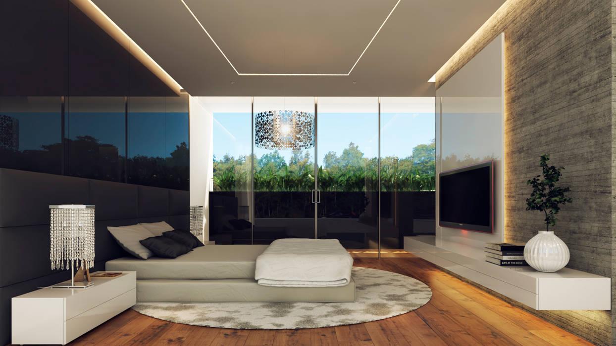 Casa Imozulu CDMX: Recámaras de estilo  por Besana Studio