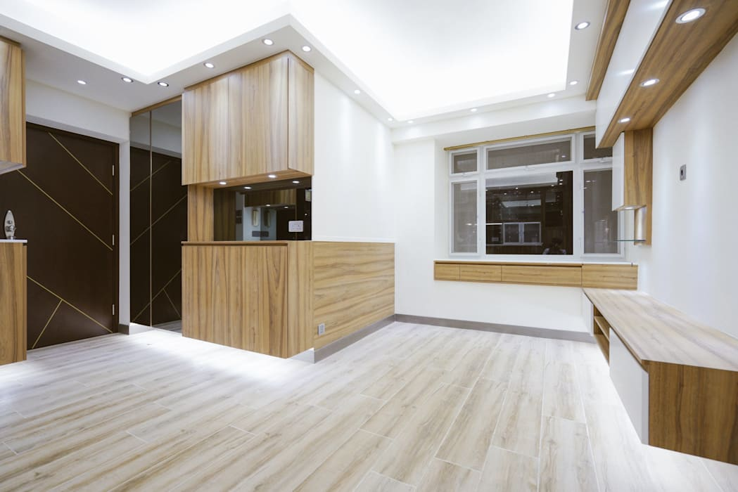 Residential in Tsuen Wan :  Living room by The Realizes Co, Minimalist Wood Wood effect