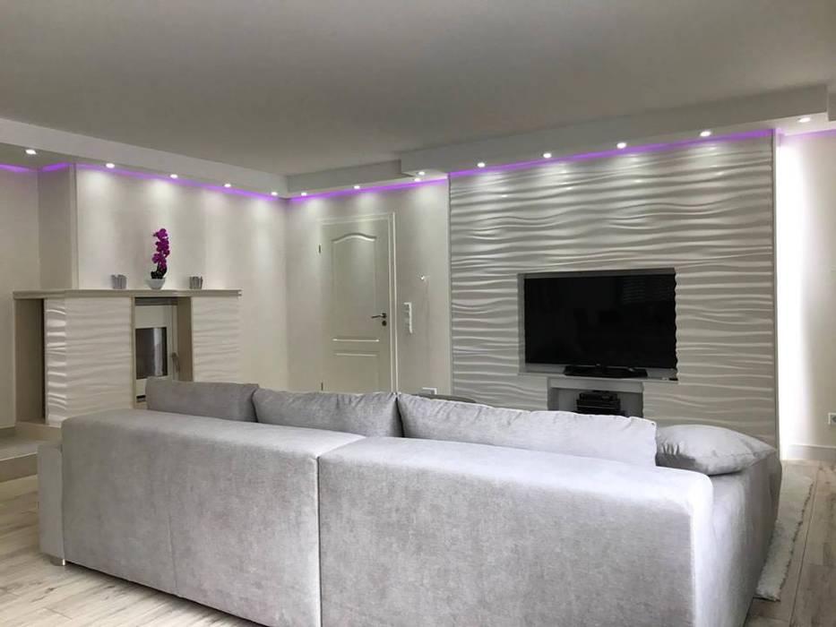 Dekorative 3d wandpaneele modell nr. 28 ripples: wohnzimmer von loft ...