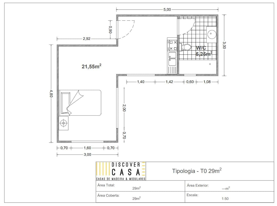 Modelo | T0 29m²: Casas pré-fabricadas  por Discovercasa | Casas de Madeira & Modulares,