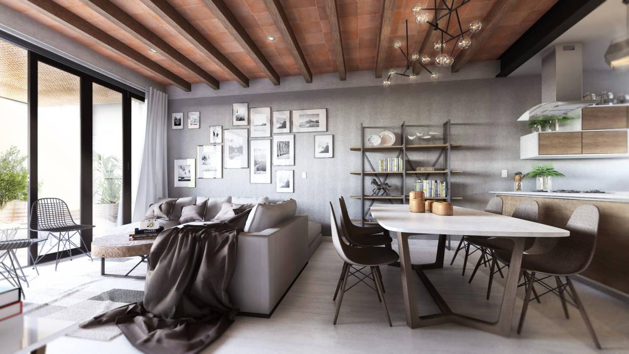 Comedores de estilo  por Mouret Arquitectura,
