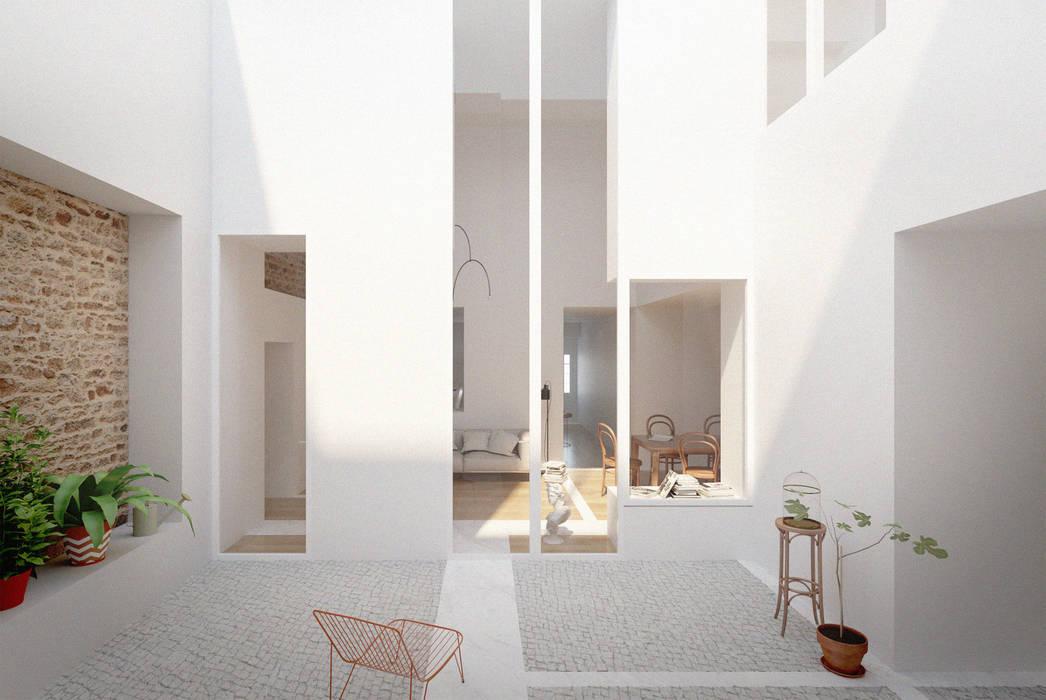Casa das Muralhas Varandas, marquises e terraços minimalistas por Corpo Atelier Minimalista