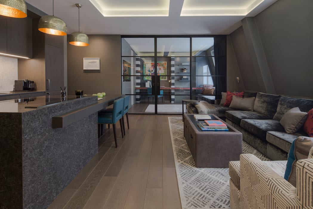Fitzrovia Apartment - Open-plan Living Room and Kitchen:  Living room by Roselind Wilson Design, Modern