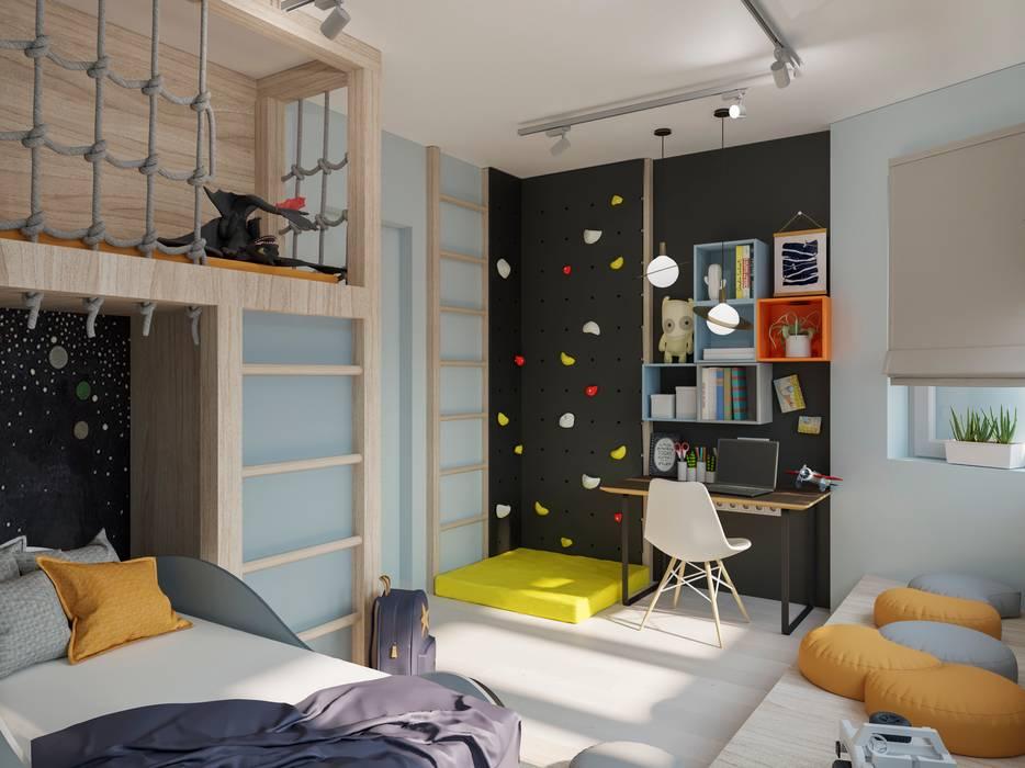 Minimalistisch interieur tienerkamer: fotobehang op kinderkamer met