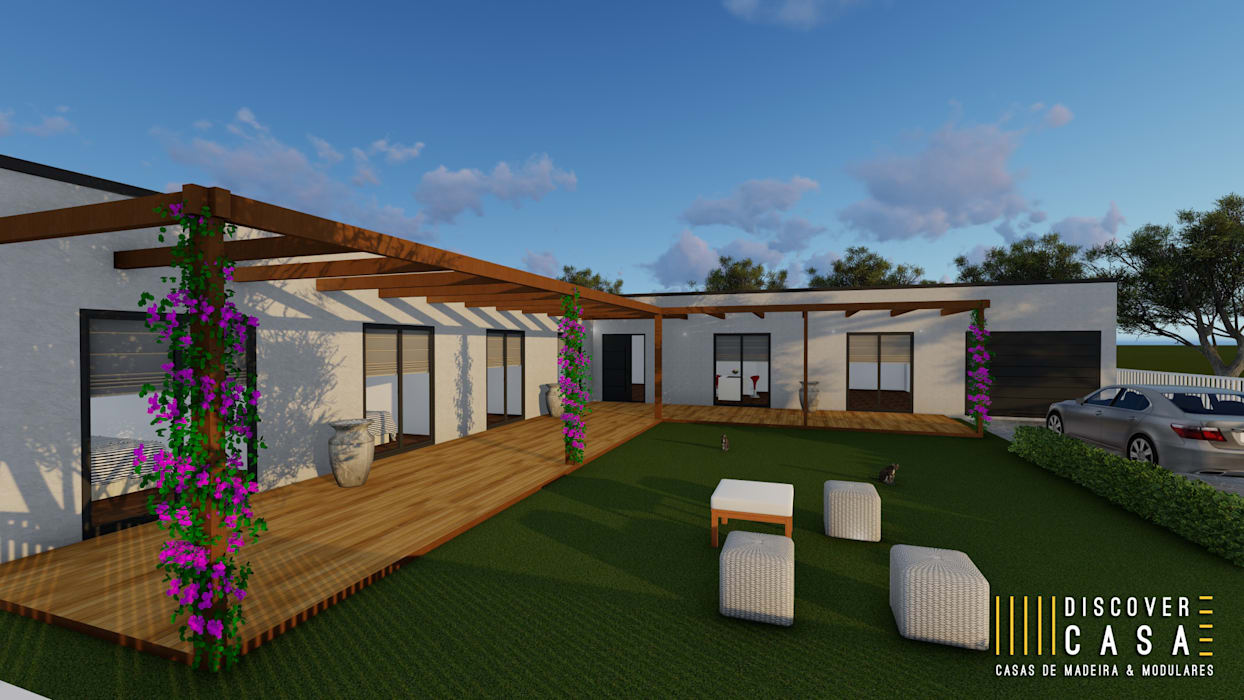 Oleh Discovercasa | Casas de Madeira & Modulares Modern Kayu Wood effect