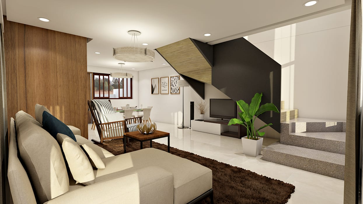 Brand new 2 storey house - Living room and stairs to upper floor :  Living room by Architecture Creates Your Environment Design Studio