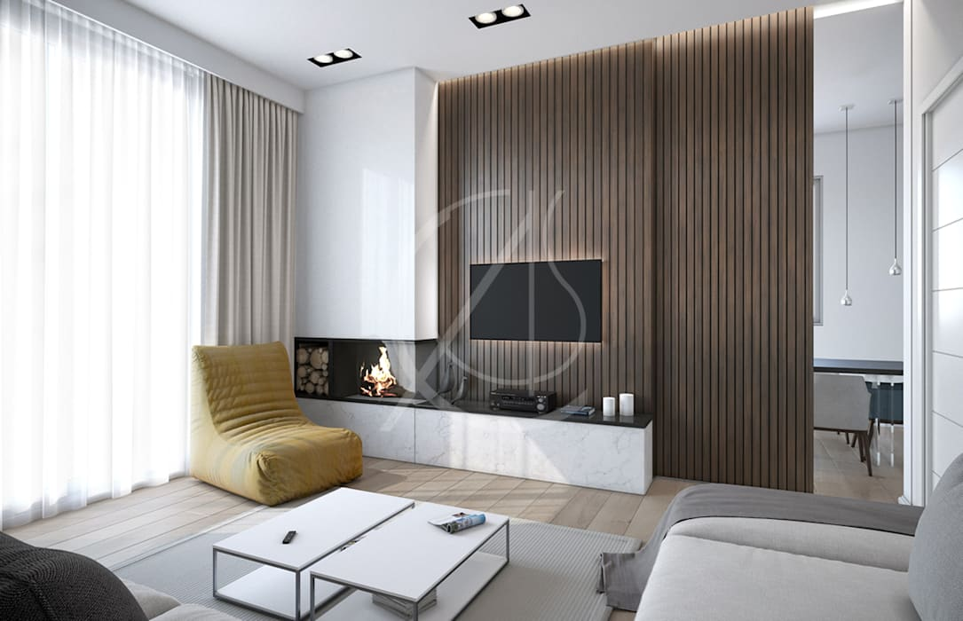 Ultra-Modern Flat Design:  Living room by Comelite Architecture, Structure and Interior Design