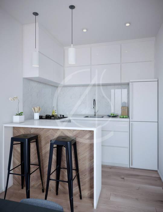 Ultra-Modern Flat Design:  Kitchen units by Comelite Architecture, Structure and Interior Design , Modern