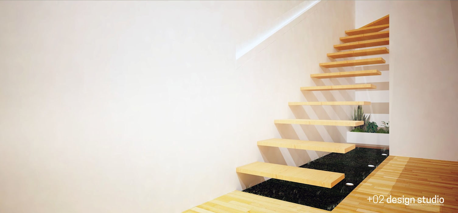 Slice House:  Stairs by Plus Zero Two Design Studio, Minimalist