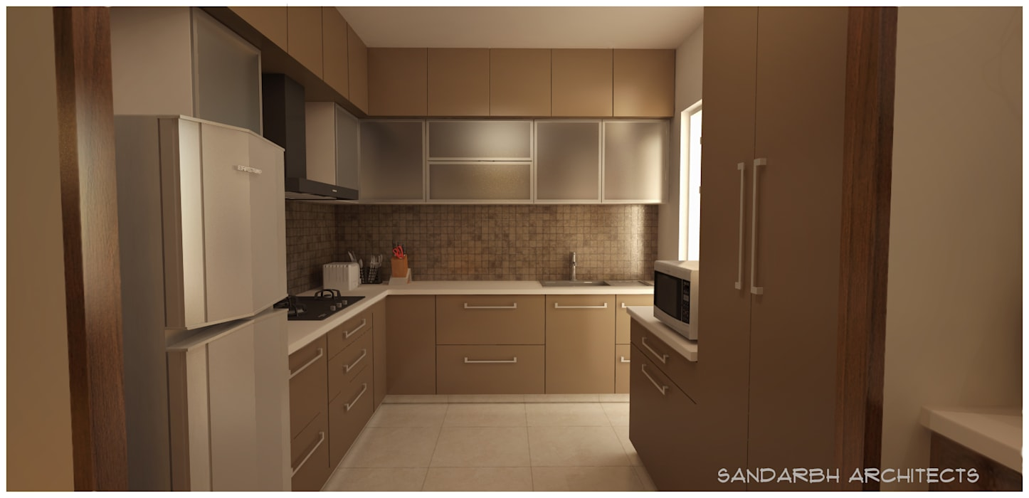 Kitchen Minimalist kitchen by Sandarbh Design Studio Minimalist