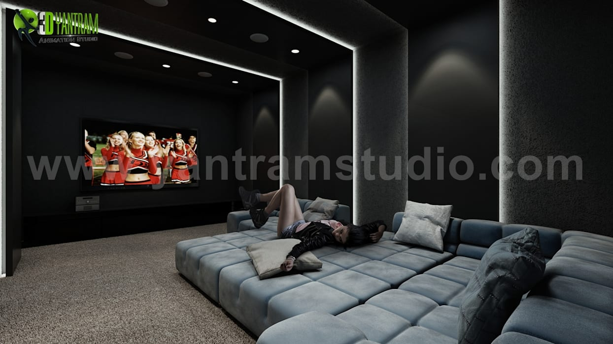 Home Theater Room Design Ideas by Yantram architectural design Modern media room by Yantram Architectural Design Studio Modern
