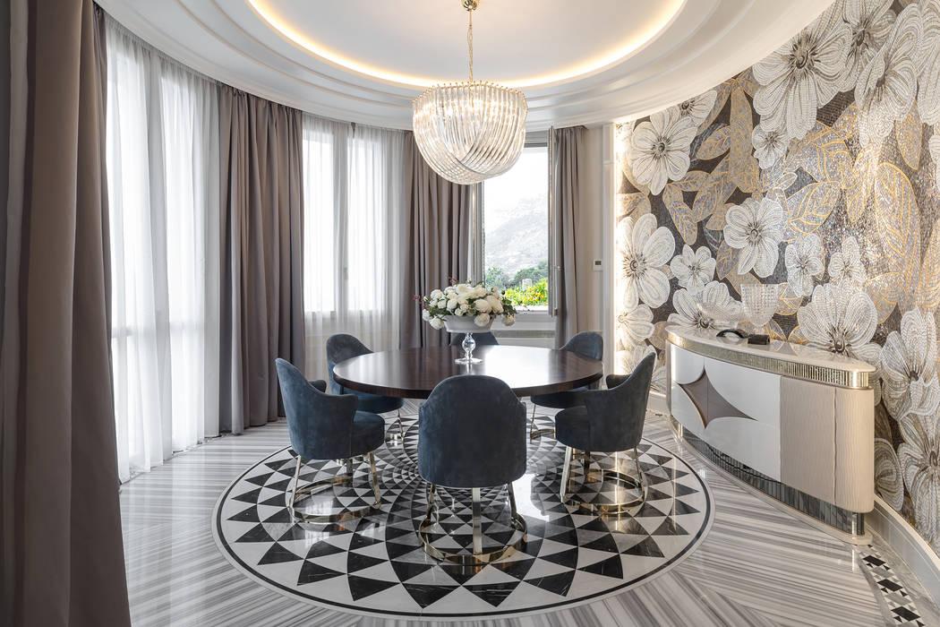 Interior design of a dinning room in a villa on Cote d'Azur.: Sala da pranzo in stile in stile Classico di NG-STUDIO Interior Design