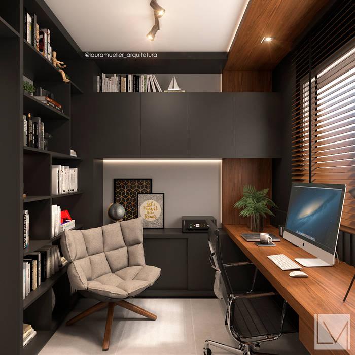 Home Office do Viajante: Escritórios  por Laura Mueller Arquitetura + Interiores,Moderno Madeira Efeito de madeira