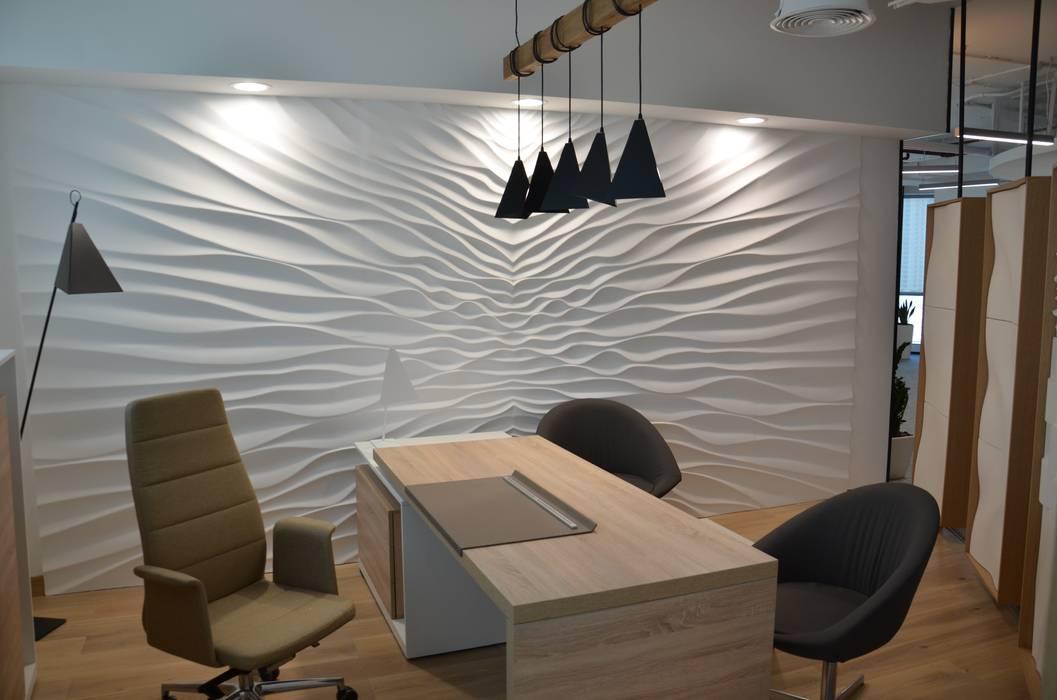 Wandverkleidung aus Gips Modell Illusion:  Arbeitszimmer von Loft Design System Deutschland - Wandpaneele aus Bayern