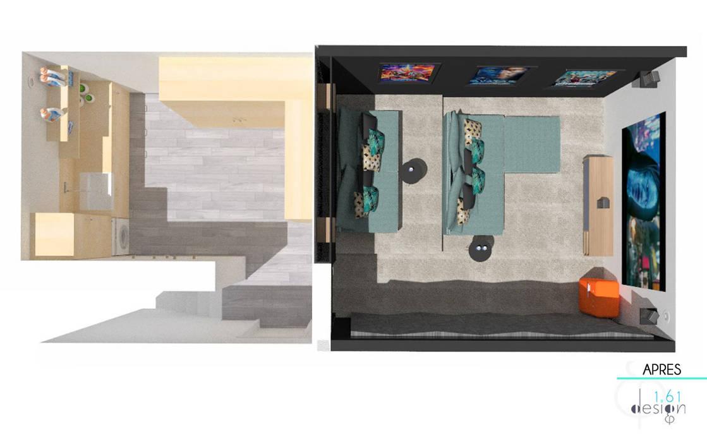 Décoration des pièces d'une maison - St Just Chaleyssin: Planchers de style  par 1.61 design, Moderne