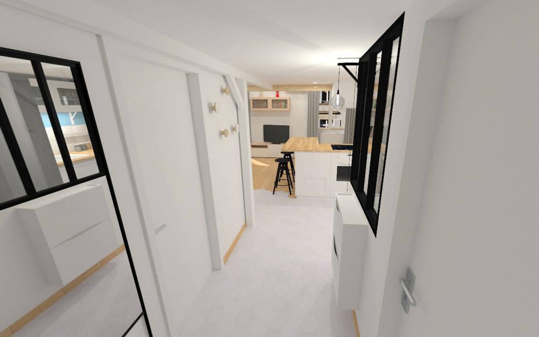 Rénovation d\'un appartement canut - lyon: couloir et hall d\'entrée ...
