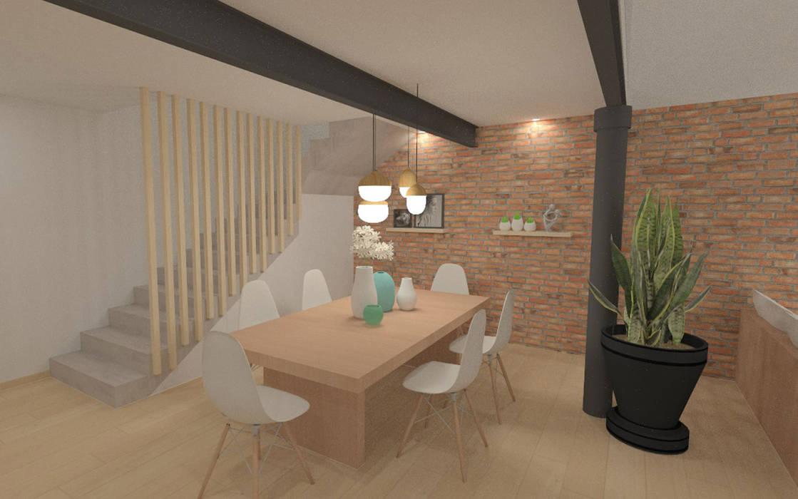Home staging virtuelle pour la vente d'une maison - Pélussin Salle à manger moderne par 1.61 design Moderne Briques