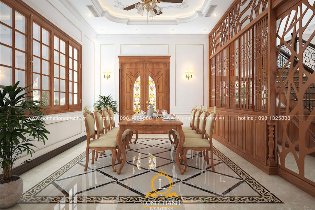 Dự án thiết kế nội thất tân cổ điển cho nhà liền kề Nội thất Long Thành Nhà bếp phong cách Bắc Âu Wood effect