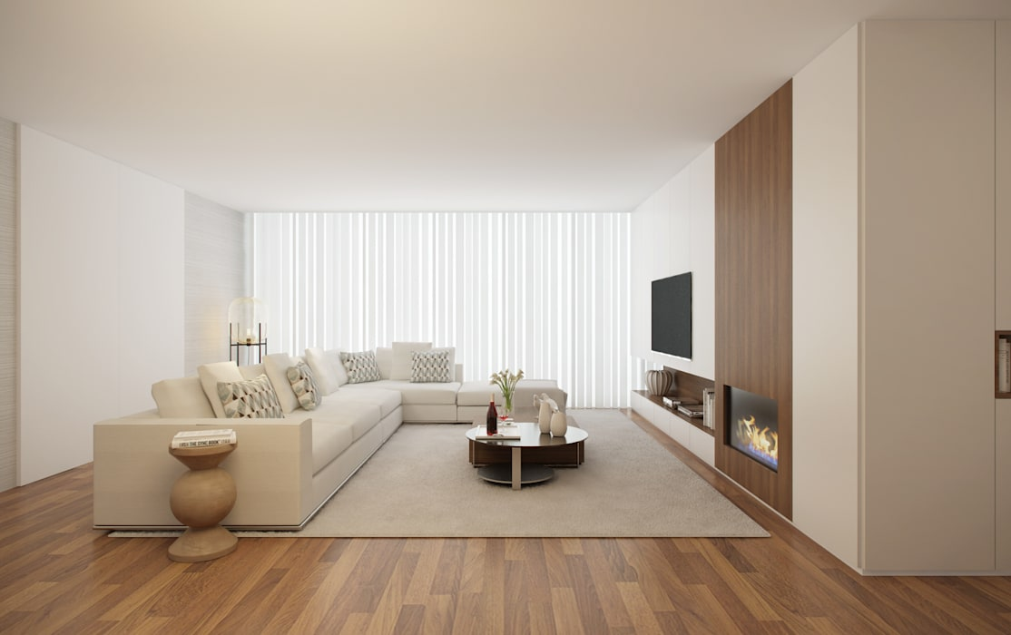 Home for Two Salas de estar modernas por 411 - Design e Arquitectura de Interiores Moderno