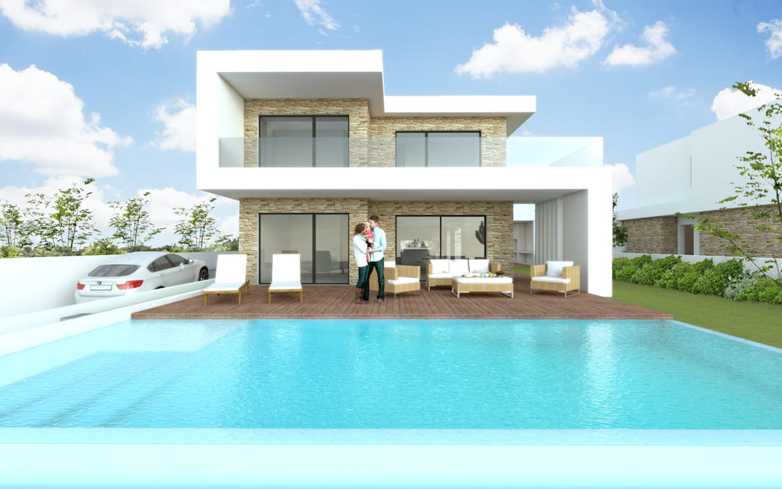 Ocean Villas | Living Concept at Ribamar | Ericeira: Habitações multifamiliares  por DR Arquitectos ,