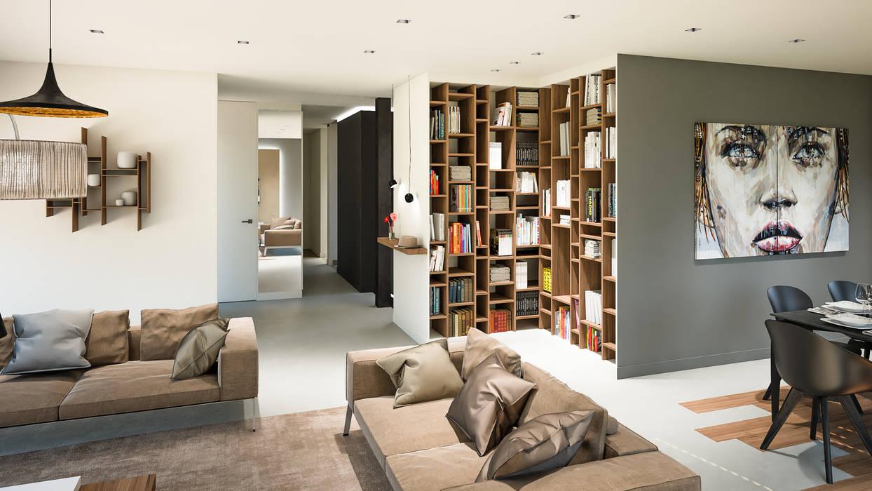 Bibliothèque intégrée: salon de style par réhome | homify