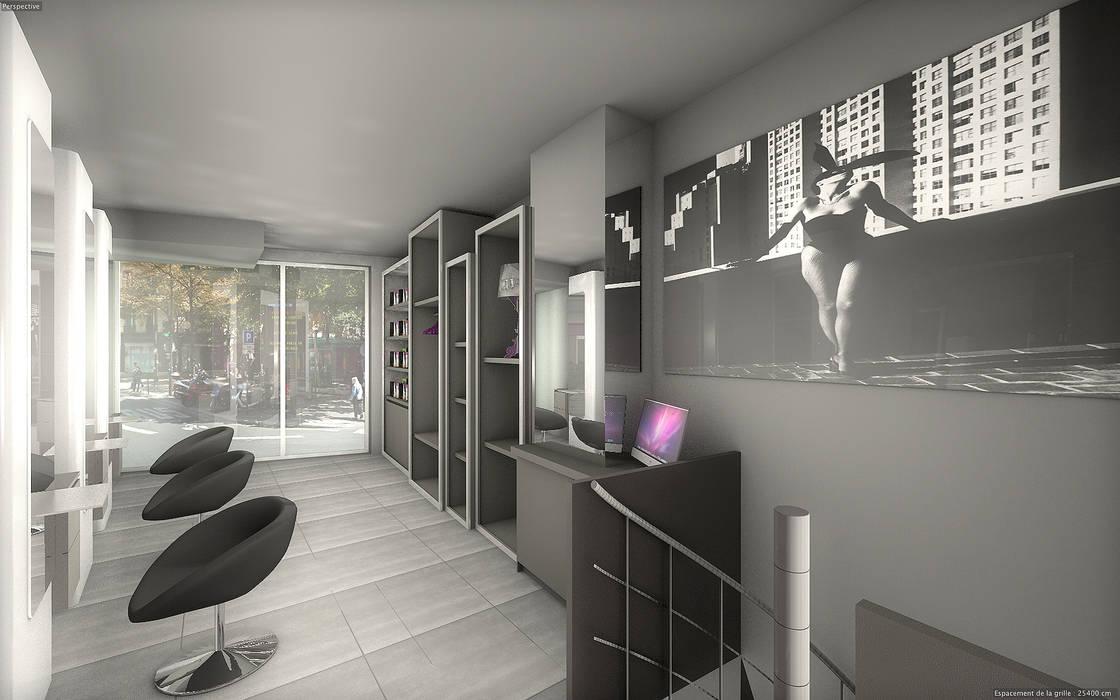 Salon de coiffure rénové: Locaux commerciaux & Magasins de style  par réHome