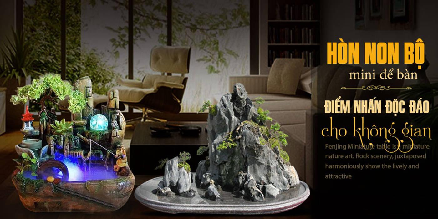 Hòn non bộ mini để bàn – điểm nhấn độc đáo cho không gian Phòng học/văn phòng phong cách châu Á bởi Công Ty Thi Công Và Thiết Kế Tiểu Cảnh Non Bộ Châu Á