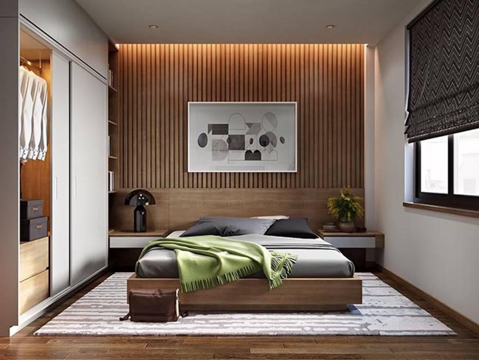 Phòng ngủ tiện nghi với tone màu trầm Phòng ngủ phong cách châu Á bởi Công ty Thiết Kế Xây Dựng Song Phát Châu Á