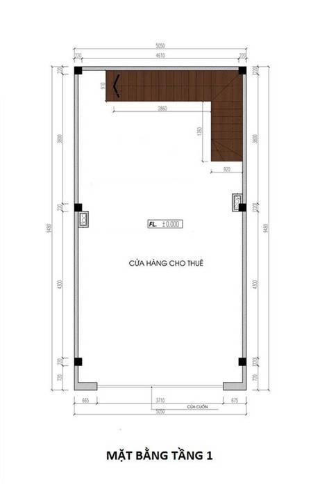 Bố trí tầng 1 của ngôi nhà làm nơi cho thuê để kinh doanh bởi Công ty Thiết Kế Xây Dựng Song Phát Châu Á