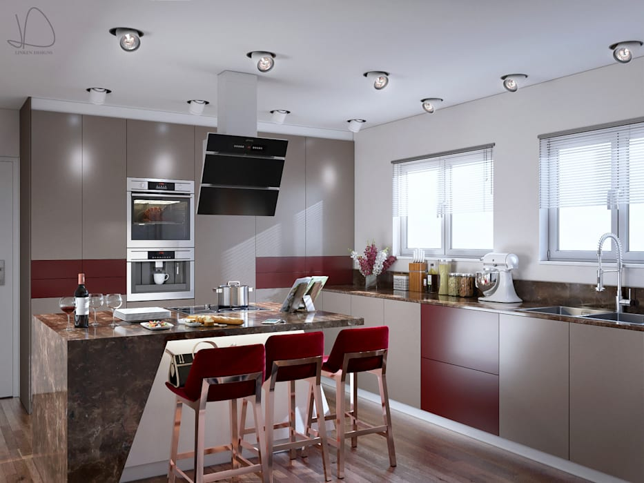 Burgundy Gloss Kitchen Main view:  Built-in kitchens by Linken Designs