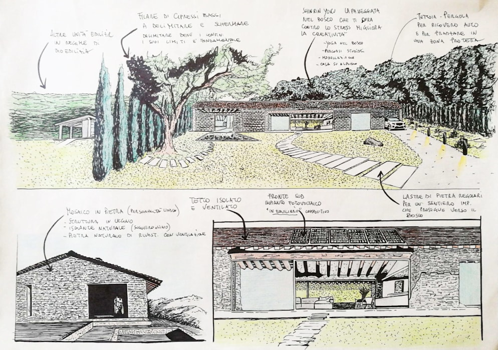 Villa unifamiliare in bioedilizia: Villa in stile  di Studio Bennardi - Architettura & Design