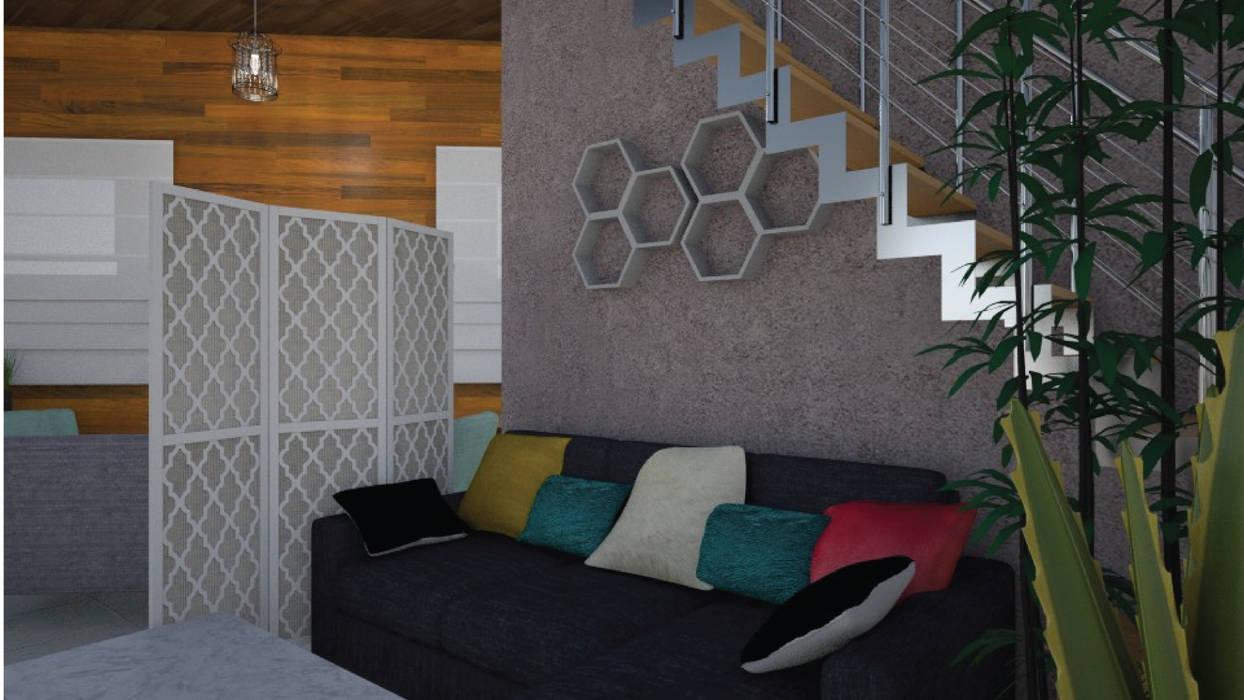 Hall- Render 3D: Livings de estilo ecléctico por Mica Chapado