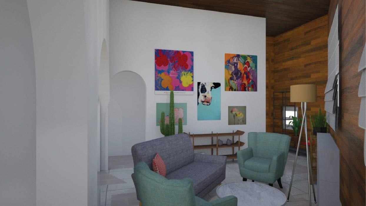 Living - Render 3d: Livings de estilo  por Mica Chapado