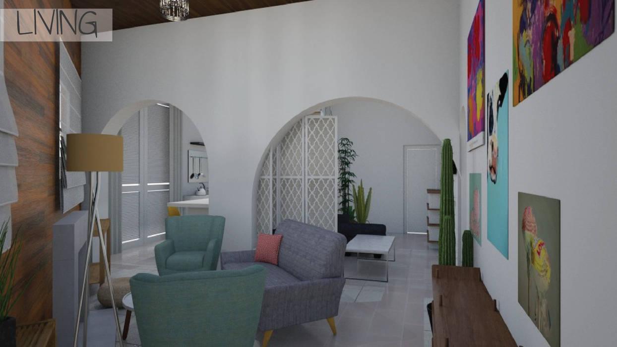 Render 3D - Living: Livings de estilo  por Mica Chapado
