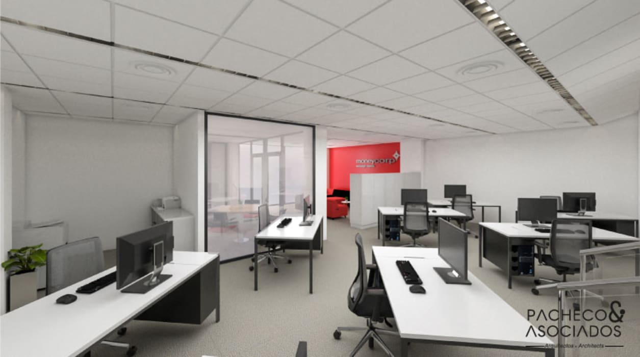Work room with 8 seats by Pacheco & Asociados Minimalist