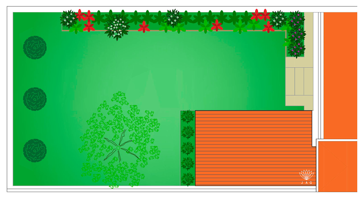 Plano Geral Jardins ecléticos por JAG arquitetura paisagista Eclético
